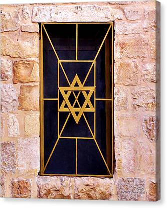 Jerusalem Window On Mt. Zion Israel Canvas Print by Brian Tada