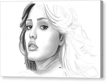 Jessica Alba Canvas Print by Gil Fong