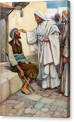 Jesus And The Blind Man Canvas Print by Arthur A Dixon