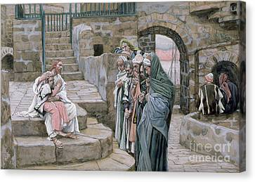 Jesus And The Little Child Canvas Print by Tissot