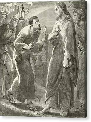 Jesus Betrayed By Judas Canvas Print by English School