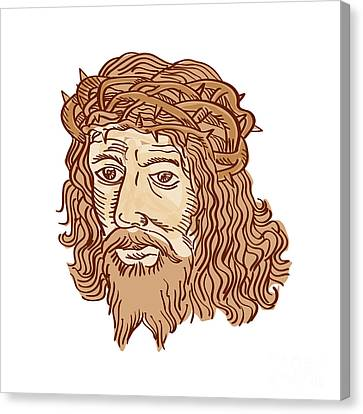 Jesus Christ Face Crown Thorns Etching Canvas Print by Aloysius Patrimonio