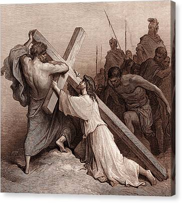Jesus Falling Beneath The Cross Canvas Print by Gustave Dore