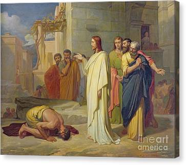 Jesus Healing The Leper Canvas Print by Jean Marie Melchior Doze
