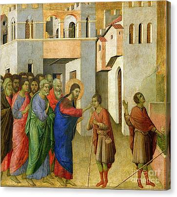 Jesus Opens The Eyes Of A Man Born Blind Canvas Print by Duccio di Buoninsegna