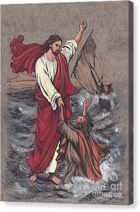 Jesus Saves Peter Canvas Print by Morgan Fitzsimons