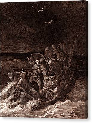 Jesus Stilling The Tempest Canvas Print by Gustave Dore