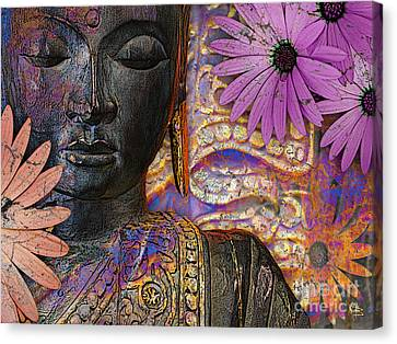 Jewels Of Wisdom - Buddha Floral Artwork Canvas Print by Christopher Beikmann
