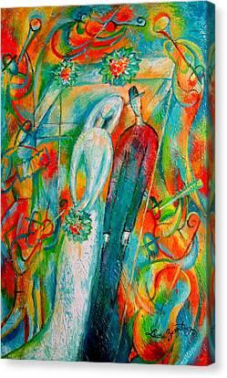 Jewish Wedding Canvas Print by Leon Zernitsky
