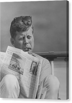 Jfk Relaxing Outside Canvas Print by War Is Hell Store