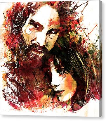 Jim And Pam In Watercolor Canvas Print by Marian Voicu