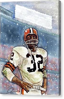 Jim Brown Canvas Print by Dave Olsen