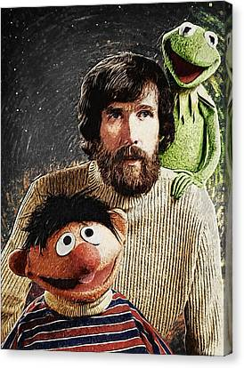 Jim Henson Together With Ernie And Kermit The Frog Canvas Print by Taylan Apukovska