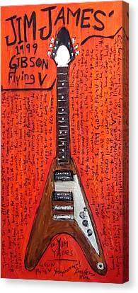 Jim James Gibson Flying V Canvas Print by Karl Haglund