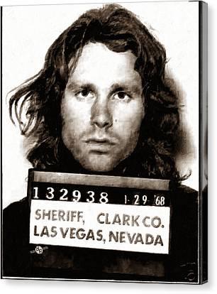 Jim Morrison Mug Shot 1968 Painting Sepia Canvas Print by Tony Rubino