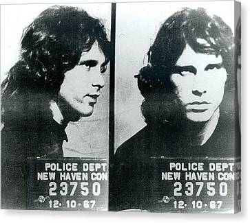 Jim Morrison Mug Shot Horizontal Canvas Print by Tony Rubino