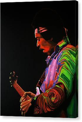 Jimi Hendrix Painting 4 Canvas Print by Paul Meijering