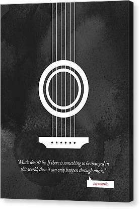 Jimi Hendrix Quote - Music Doesnt Lie .... Canvas Print by Aged Pixel