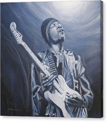 Jimi In The Bluelight Canvas Print by Michael Morgan