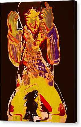 Jimi Setting Guitar On Fire Canvas Print by Dan Sproul