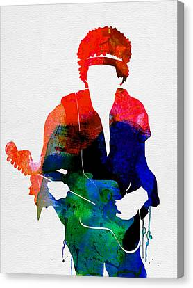 Jimi Watercolor Canvas Print by Naxart Studio