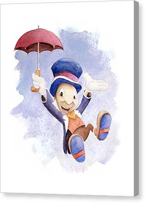 Jiminy Cricket With Umbrella Canvas Print by Andrew Fling