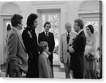 Jimmy Carter With Johnny Cash Canvas Print by Everett