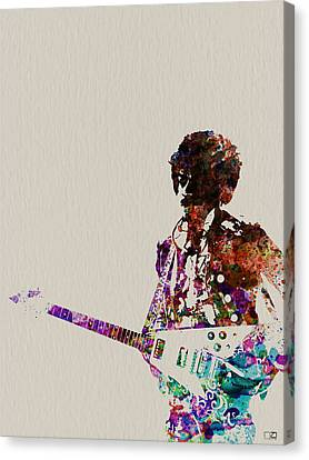 Jimmy Hendrix With Guitar Canvas Print by Naxart Studio