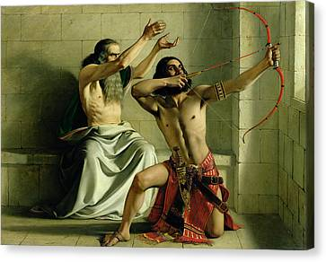Joash Shooting The Arrow Of Deliverance Canvas Print by William Dyce