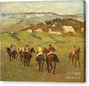 Jockeys On Horseback Before Distant Hills Canvas Print by Edgar Degas