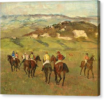 Jockeys On Horseback Before Distant Hills Canvas Print by Edgar Degas