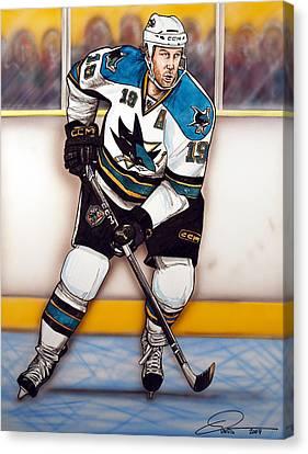 Joe Thornton San Jose Sharks Canvas Print by Dave Olsen