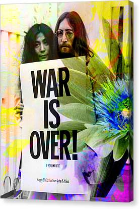John And Yoko - War Is Over Canvas Print by Andrew Osta