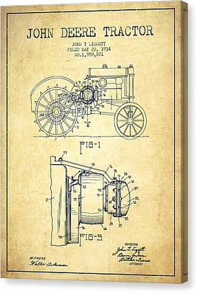 John Deere Tractor Patent Drawing From 1934 - Vintage Canvas Print by Aged Pixel