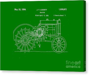 John Deere Tractor Patent Tee Canvas Print by Edward Fielding