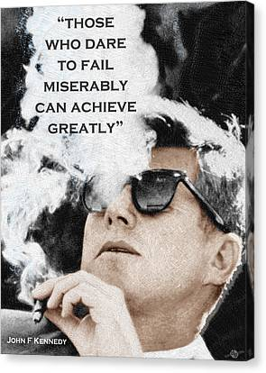 John F Kennedy Cigar And Sunglasses 3 And Quote Canvas Print by Tony Rubino