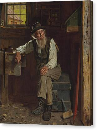 John George Brown Living In The Past 1896 Canvas Print by Movie Poster Prints
