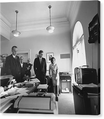 John Kennedy And Others Watching Canvas Print by Everett