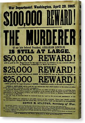 John Wilkes Booth Wanted Poster Canvas Print by War Is Hell Store