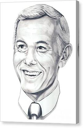 Johnny Carson Canvas Print by Murphy Elliott