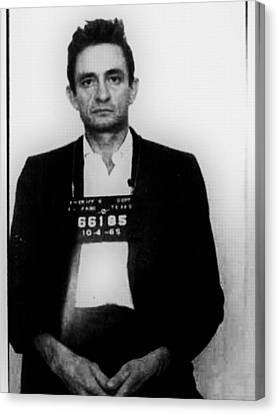 Johnny Cash Mug Shot Vertical Canvas Print by Tony Rubino