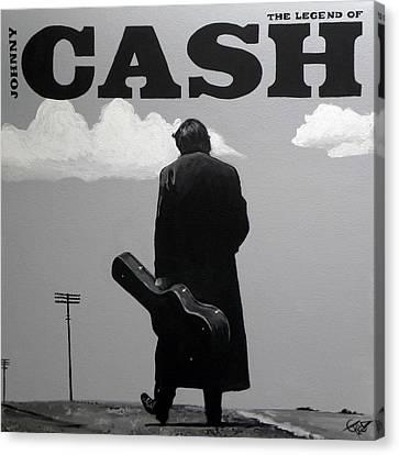 Johnny Cash Canvas Print by Tom Carlton