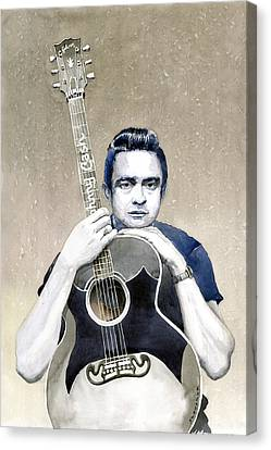 Johnny Cash Canvas Print by Yuriy  Shevchuk