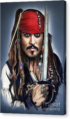 Johnny Depp As Jack Sparrow Canvas Print by Melanie D