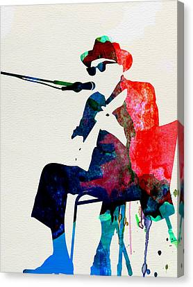 Johnny Lee Hooker Watercolor Canvas Print by Naxart Studio