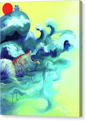 Jonah And The Great Fish Canvas Print by Cathy Jacobs