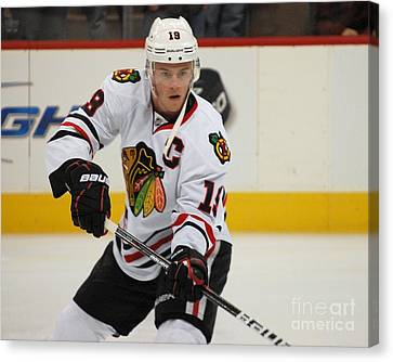 Jonathan Toews - Action Shot Canvas Print by Melissa Goodrich