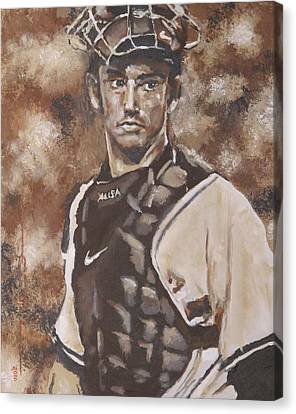 Jorge Posada New York Yankees Canvas Print by Eric Dee