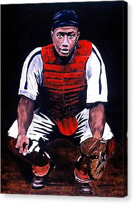 Josh Gibson - Catcher Canvas Print by Ralph LeCompte