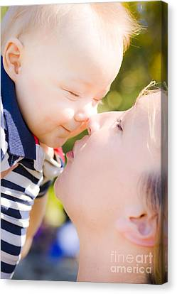Joyful Baby Rubbing Noses With Mom Canvas Print by Jorgo Photography - Wall Art Gallery